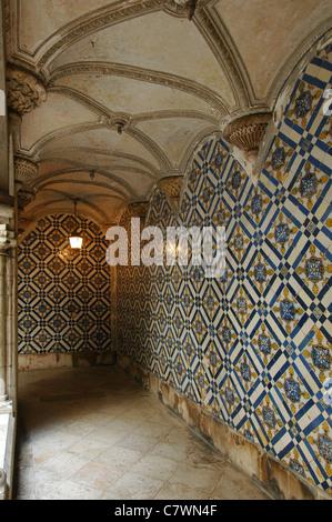 Painted tin-glazed ceramic azulejos tiles decorating Museu dos Azulejos museum in Lisbon Portugal - Stock Photo