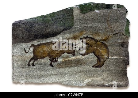 Primitive cave art depicting the bull and bear markets - Stock Photo