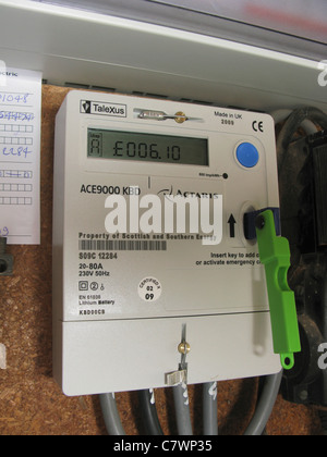 quantum key prepayment electric meter, paying for electricity as you use it - Stock Photo