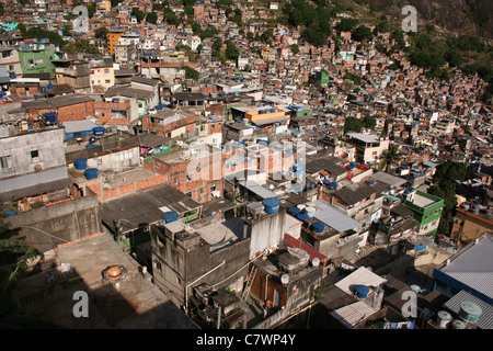 A view of Rochina, biggest favela (slum) in Rio de Janeiro. - Stock Photo
