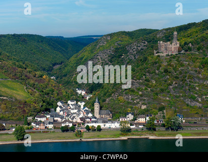 Castle Burg Maus or Mouse Castle on hill above Wellmich village on River Rhine in Rhineland Germany - Stock Photo