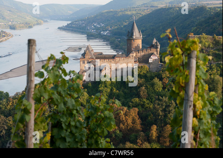 Burg Stahleck castle from vineyard above Bacharach village beside River Rhine in Germany - Stock Photo