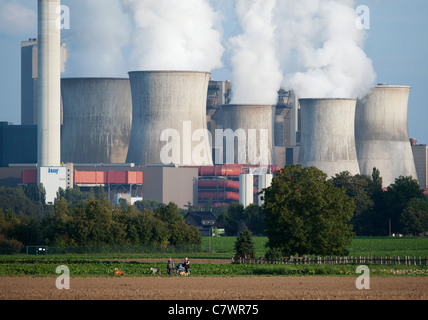 View of Niederaussem coal fired power station in Bergheim district of North Rhine Westfalia Germany - Stock Photo