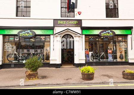 The 3 Peaks cycles bike shop store at Settle in North Yorkshire , England , Britain , Uk - Stock Photo
