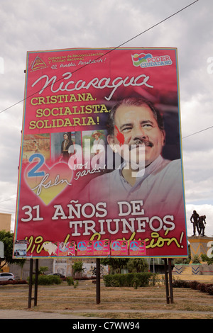 Managua Nicaragua El Malecon political billboard Daniel Ortega President government socialist Sandinista leader - Stock Photo