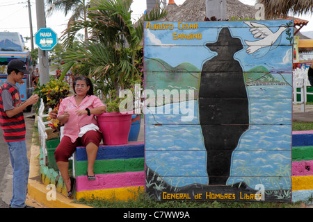 Managua Nicaragua El Malecon Puerto Salvador Allende Lake Xolotlan inland port recreational area public art painted - Stock Photo