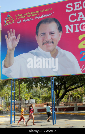 Managua Nicaragua Area Monumental Central Park political billboard Daniel Ortega President government socialist - Stock Photo