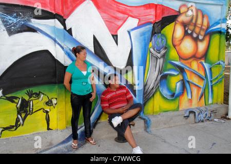 Nicaragua, Central America, Managua, Calle Colon, wall, public art, FSLN, Sandinista National Liberation Front, - Stock Photo