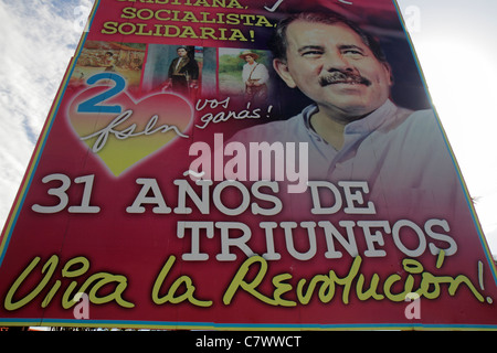 Managua Nicaragua Calle Colon political billboard Daniel Ortega President government socialist revolution Sandinista - Stock Photo