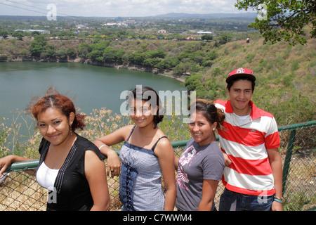 Managua Nicaragua Loma de Tiscapa national historic park Parque Historico La Sombra de Sandino volcano crater caldera - Stock Photo