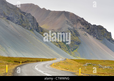 The Icelandic ring road and scenery north of Hofn in southeast Iceland. - Stock Photo