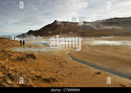 Steaming fumaroles (volcanic vents) at Hverir (aka Hverarond) east of Myvatn in northeast Iceland. - Stock Photo