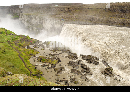 Dettifoss waterfall on the Jökulsá á Fjöllum river near Myvatn in Vatnajokull National Park, northeast Iceland. - Stock Photo