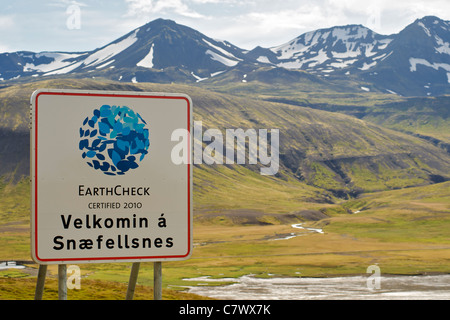 'Welcome to Snaefellsness' sign at the northern entrance to Snaefellsness National Park in west Iceland. - Stock Photo