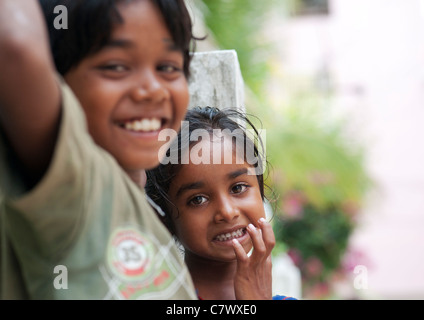 Young poor lower caste Indian street boy and girl. Selective focus. - Stock Photo