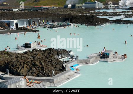 The Blue Lagoon near Reykjavik in Iceland. - Stock Photo