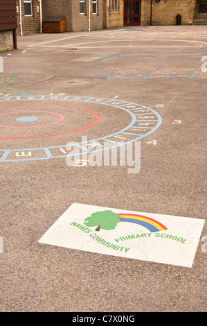 The playground at Hawes Community Primary School in Hawes in Wensleydale in North Yorkshire , England , Britain - Stock Photo