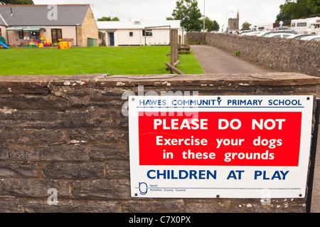 A sign at Hawes Community Primary School in Hawes in Wensleydale in North Yorkshire , England , Britain , Uk - Stock Photo