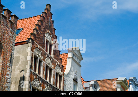 Detail of buildings in the centre of Bruges, Belgium - Stock Photo