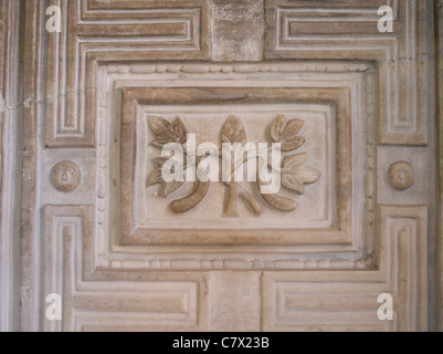 Carving on the interior walls of the Hagia Sophia ( Aya Sofia ) mosque now museum in Istanbul Turkey - Stock Photo