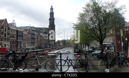 View down Prinsengracht towards The Westerkerk church tower, Anne Frank house in the background, Amsterdam, The - Stock Photo