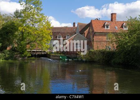 Flatford Mill on River Stour, Flatford, Essex, UK - Stock Photo