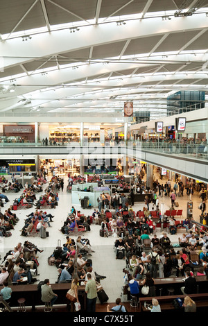 Overview of interior of Terminal 5, Heathrow airport London UK - Stock Photo