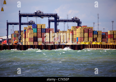 Port of Felixstowe International Trade - Containers stacked up at Felixstowe Port in the UK - Stock Photo