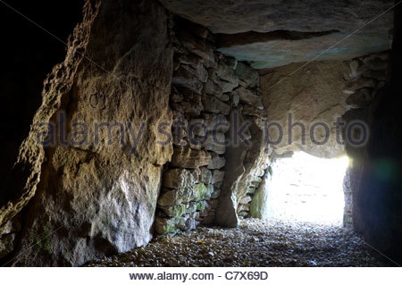 Interior of Uley Long Barrow (Hetty Pegler's Tump), near Uley village, Gloucestershire, UK. - Stock Photo