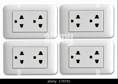 Double electrical power socket and single plug switched on, white background. - Stock Photo