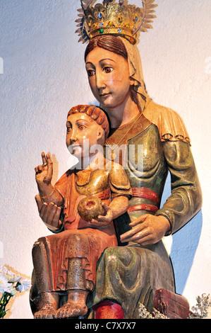 Spain, St. James Way: Romanesque Madonna in the church Santa Maria la Real in O Cebreiro - Stock Photo