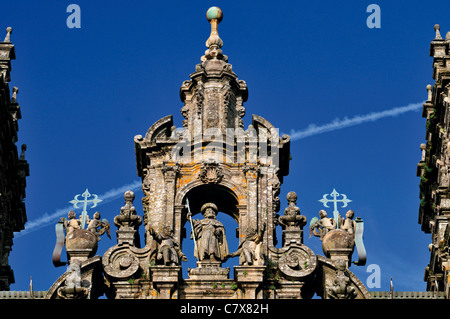 Spain, St. James Way: Detail of the western facade of the Cathedral of Santiago de Compostela - Stock Photo