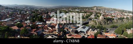 Panoramic view of Tbilisi, capital of Georgia - Stock Photo