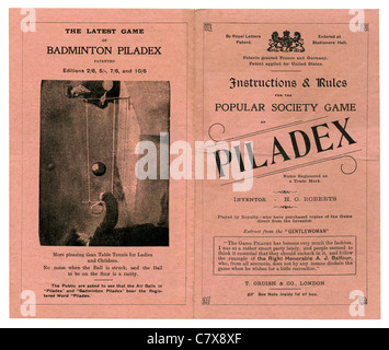 Instructions and rules for the Victorian parlour game of Piladex, c. 1900 - a cross between table tennis and badminton - Stock Photo