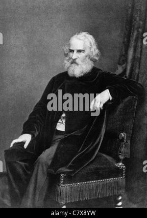 Vintage portrait of American poet and educator Henry Wadsworth Longfellow (1807 - 1882). - Stock Photo