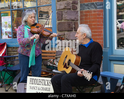 Street Musicians performing in Lambertville, New Jersey - Stock Photo