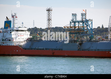Lng tanker at Esso Fawley refinery Solent Southampton England UK - Stock Photo