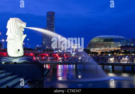 The Merlion Statue, Singapore - Stock Photo