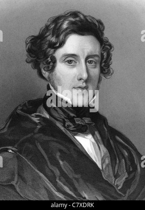 Anthony Ashley-Cooper, 7th Earl of Shaftesbury (1801-1885) on engraving from 1837. English politician and philanthropist. - Stock Photo