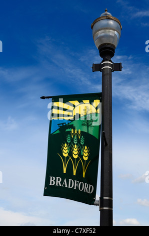 Lamppost with farming banner for town of Bradford Ontario Canada - Stock Photo