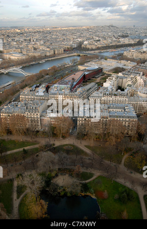 The view towards Montmartre and the River Seine from the Eiffel Tower, Paris. - Stock Photo