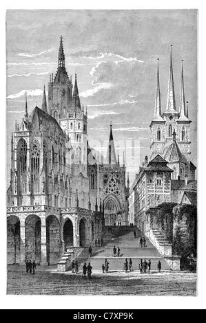 Catholic Erfurt Cathedral church Hill Erfurt Thuringia Germany Gothic St Mary's stained glass free swinging bell - Stock Photo