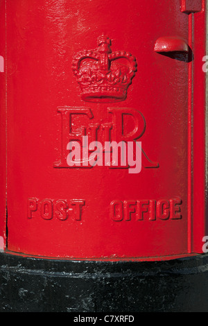 The front of a red Royal Mail post box, UK - Stock Photo