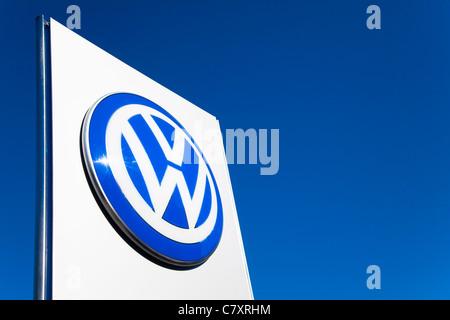 Sign, Volkswagen main dealer, London, UK - Stock Photo
