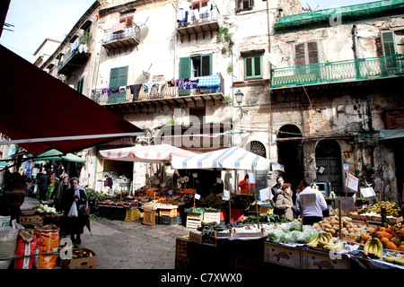 Traditional shops and stalls at Capo, old market in Palermo, Sicily, Sicilia, Italy - Stock Photo