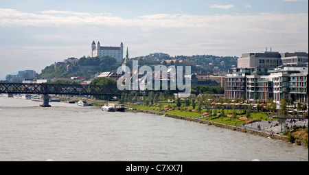 Bratislava - look from Apollo bridge - Stock Photo