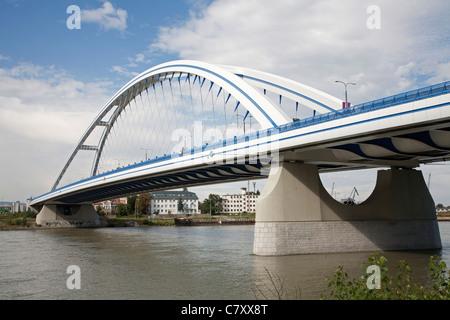 Bratislava - Apollo new arched bridge - Stock Photo