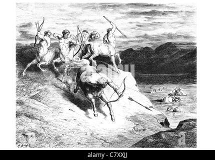 We to those beasts that rapid strode along drew near Bow Arrow archer arrows killing hunting hunt kill - Stock Photo