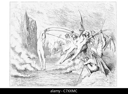Winged monster monsters This said they grappled him with more than hundred hooks hook spear spike fork torture - Stock Photo