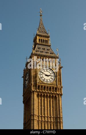 Big Ben/St Stephens clock tower, one of  Londons prominent landmarks, Westminster, London, England, UK - Stock Photo